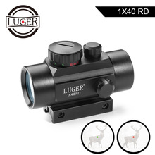 LUGER 1x40 Red Green Dot Sight Rifle Scope 11mm and 20mm Rail Hunting Optics Holographic Red Dot Sight Tactical Scope For Gun цены