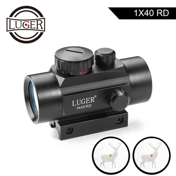 LUGER 1x40 Red Green Dot Sight Rifle Scope 11mm and 20mm Rail Hunting Optics Holographic Red Dot Sight Tactical Scope For Gun