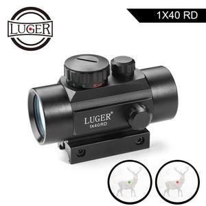Image 1 - LUGER 1x40 Rot Grün Dot Sight Zielfernrohr 11mm und 20mm Schiene Jagd Optik Holographic Red dot Anblick Tactical Scope Für Pistole