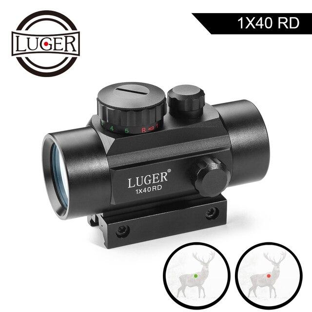 LUGER 1x40 Rot Grün Dot Sight Zielfernrohr 11mm und 20mm Schiene Jagd Optik Holographic Red dot Anblick Tactical Scope Für Pistole