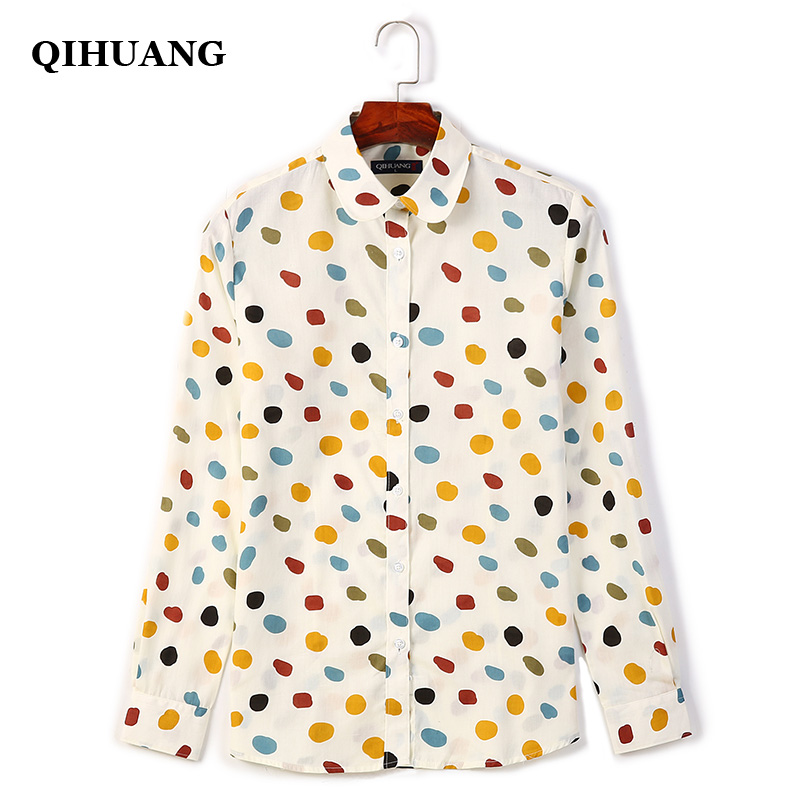 QIHUANG 2019 New Polka Dot Printed Women 39 s Shirts Plus Size Cotton Blouses Casual Long Sleeve Turn Down Collar Shirts Tops in Blouses amp Shirts from Women 39 s Clothing