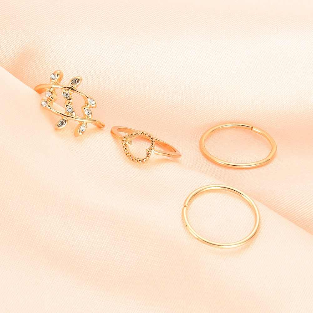 KLEEDER 4 個ゴールド色の金属合金リング女性のファッションハートリーフクリスタル手関節リングジュエリー jointAccessories