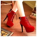 2014 autumn and winter boots ankle boots ankle-length boots thin heels high-heeled red shoes wedding bridal shoes