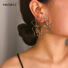 IngeSight.Z Retro Exaggerated Geometric Abstract Hollow Out Art Human Face Stud Earrings Statement Earrings for Women Jewelry недорго, оригинальная цена