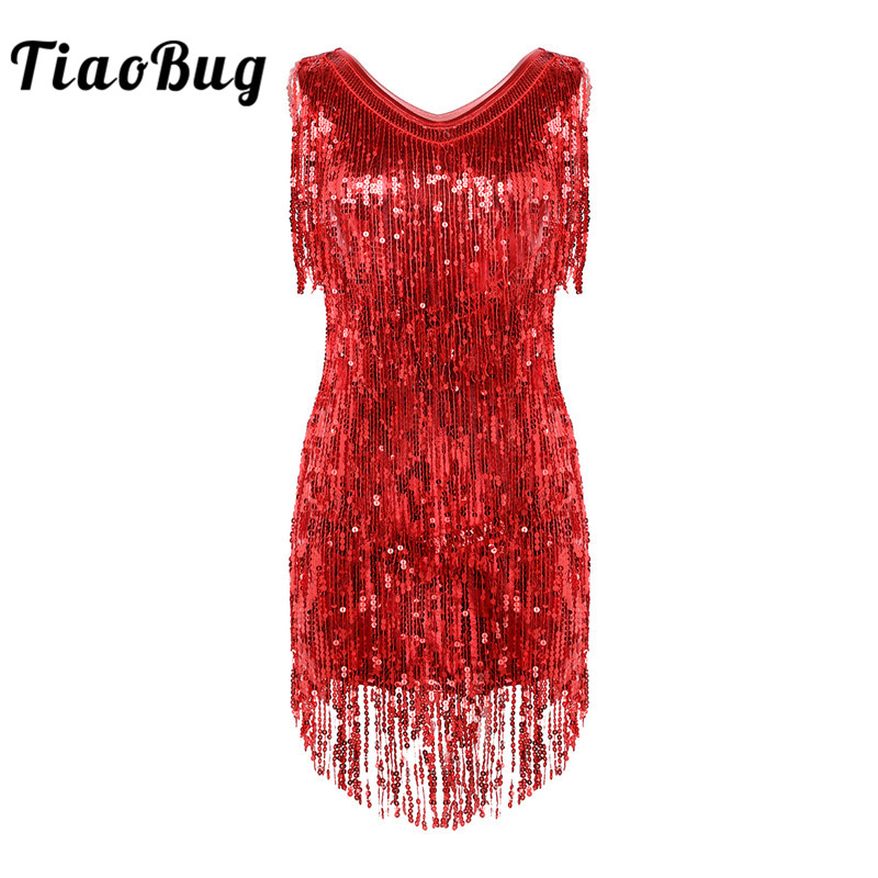 TiaoBug Women Ladies V Neck Sleeveless Sparkling Sequin Tassels Fringe Ballroom Samba Tango Stage Latin Dance Dress Rave Costume