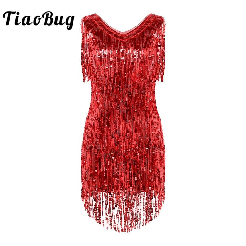 TiaoBug Women Ladies V Neck Sleeveless Sparkling Sequin Tassels Fringe Ballroom Samba Tango Stage Latin Dance Dress Rave Costume