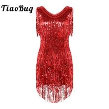 TiaoBug kobiety panie V Neck bez rękawów lśniące cekiny frędzle Fringe Ballroom Samba Tango etap Latin Dance Dress kostium wrony