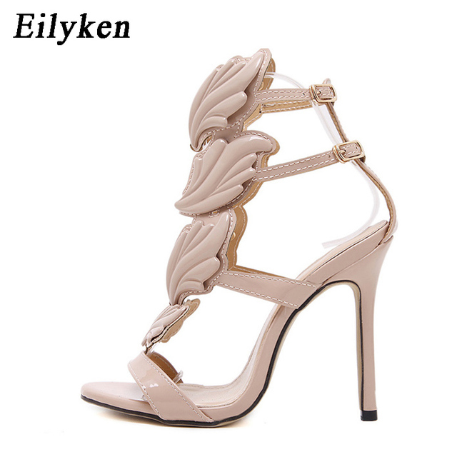 Eilyken Summer Women High Heels Gold Winged Leaves Cut-outs Stiletto Gladiator Sandals Flame Party High heel Sandal Shoes Woman
