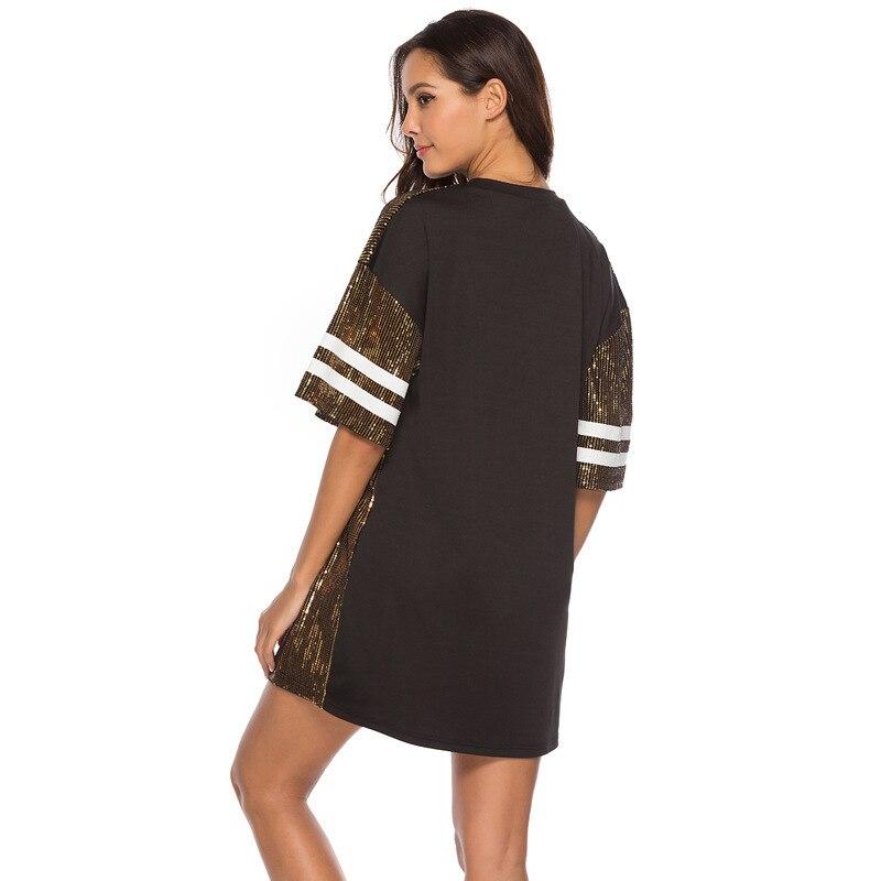 Sequins Print Loose Short Sleeve Dress 17