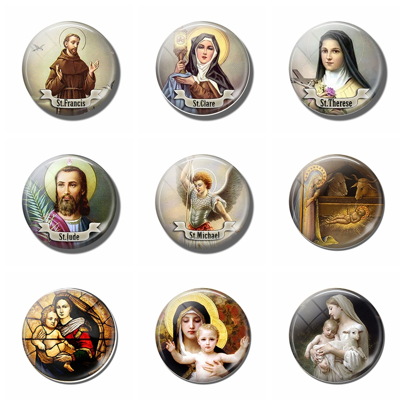5Pcs/lot Christian Glass Cabochon 25mm Round Photo Cameo Cabochon Setting Supplies For Jewelry Accessories Handmade AG0113