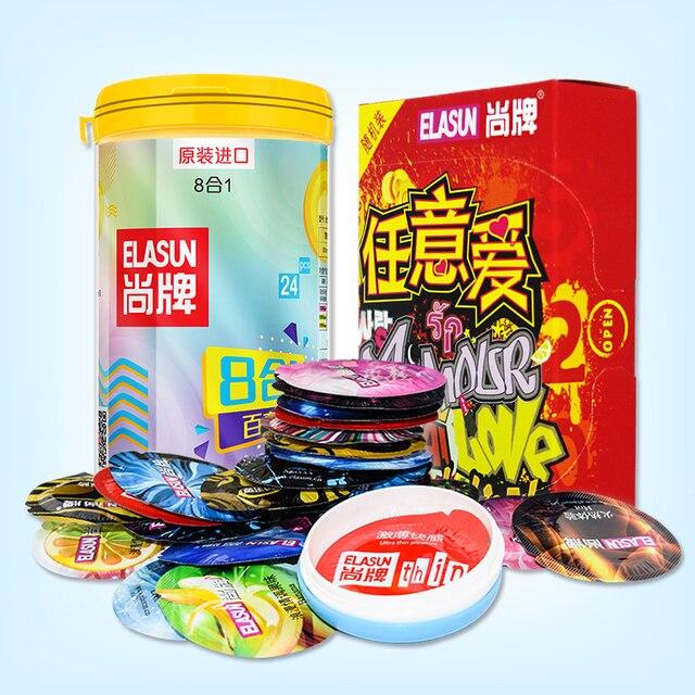 ELASUN 40 шт./лот презервативы из натурального латекса с резьбой, ультра тонкие презервативы для мужчин, секс-игрушки, рукав для пениса, elasun 40, дл...