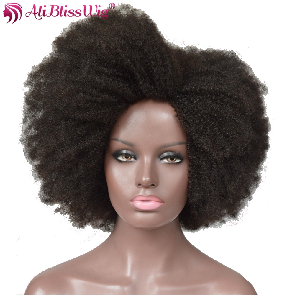 AliBlissWig Afro Kinky Curly Wigs Natural Color 100 Human