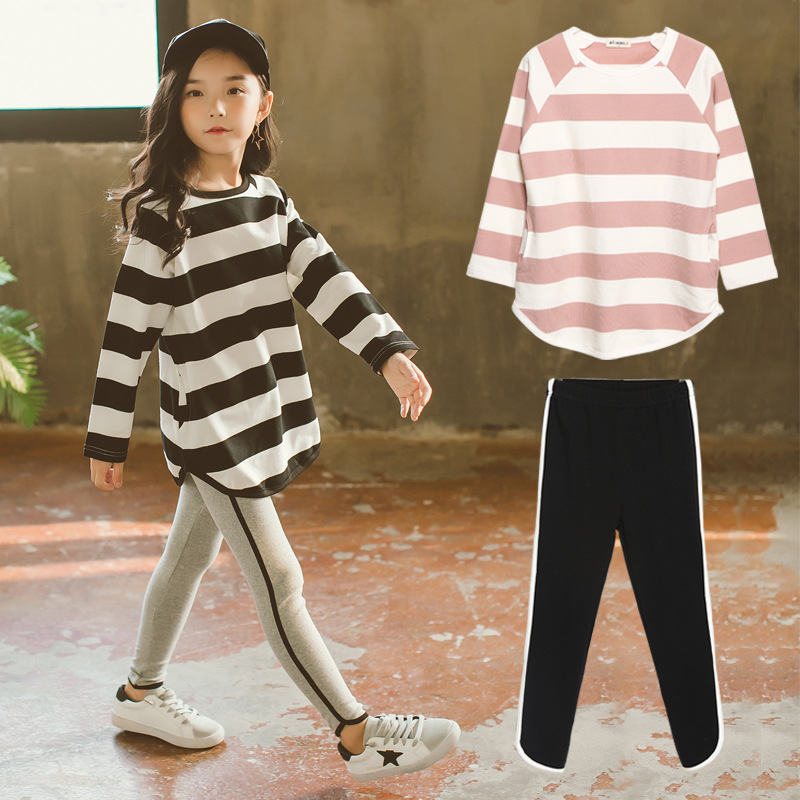 2018 New Fashion Kids Clothes Set Back To School Outfits Striped Shirt + Leggings 2pcs Teenage Girls Clothing Sports Suit 10 12 back pleat embroidered striped shirt