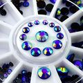 Misteriosa Mixta 4 tamaño 2-5mm 3D Glitter Blue AB Ronda Rhinestone de Acrílico Del Arte Del Clavo Decoración Del Teléfono Joyas Consejos rueda