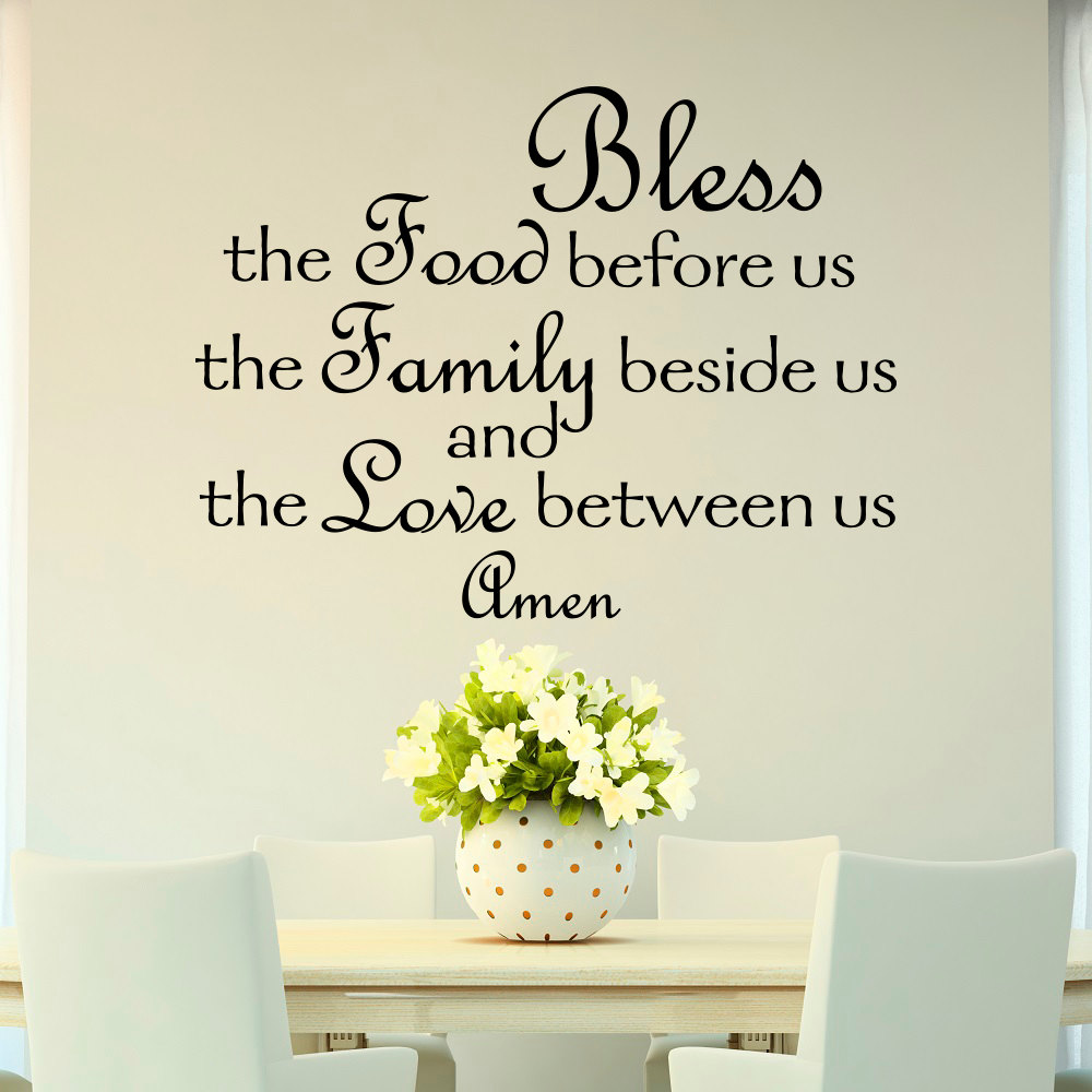 Bless The Food Before Us Wall Decal Quote Prayer Stickers Vinyl Sayings Dining Room Wall Kitchen Decor Kitchen Wall Decal JW107