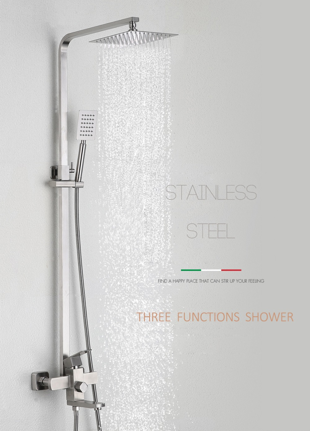 Quyanre Brushed Nickel Rainfall Shower System Faucets Ultrathin Shower Head Hot Cold Single Handle Mixer Swivel Tub Shower Kit