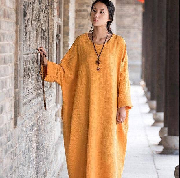 2019 Spring Autumn women long sleeve loose casual cotton linen dress ...