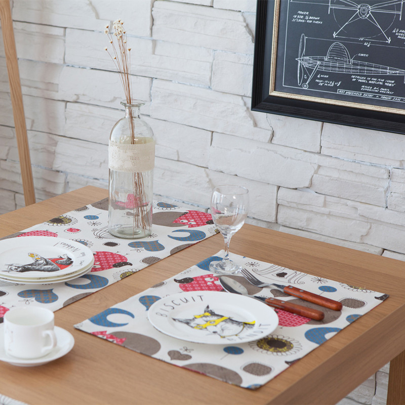 Free Shipping Cartoon Owl Placemat Dining Table Coaster Cloth Insulation Coffe Tea Cup Pad Kitchen Mantel Individual For Table