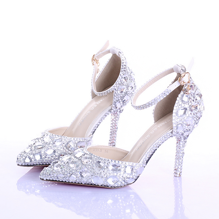 glass wedding shoes. aliexpress.com : buy 2016 summer high heels women wedding shoes white two pieces hollow diamond bride crystal wristband colorful from glass o