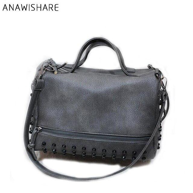 1f6d0026b35 ANAWISHARE Designer Women Leather Handbags Large Black Shoulder Bag Rivet  Ladies Tote Bag Motorcycle High Quality Bolsa Feminina