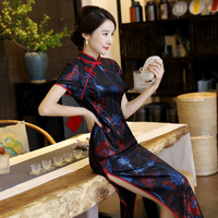 2018 New Qipao Dresses Short Sleeve National Trend Dress Floral Cheongsam Long Qipao Chinese Traditional Dress