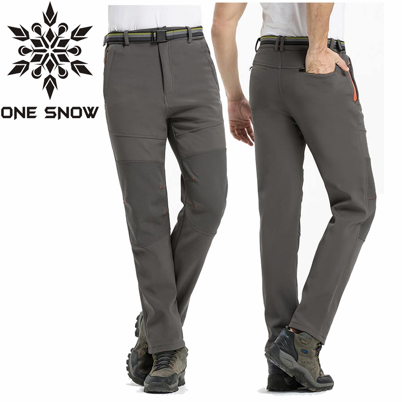 ONE SNOW New Softshell Pants Men Breathable Thermal Waterproof Pants Men Outdoor Sport Camping Hiking Pants Fleece Outdoor Pants dropshipping new brand outdoor sports waterproof breathable hiking camping sport waterproof snowboarding pants for women