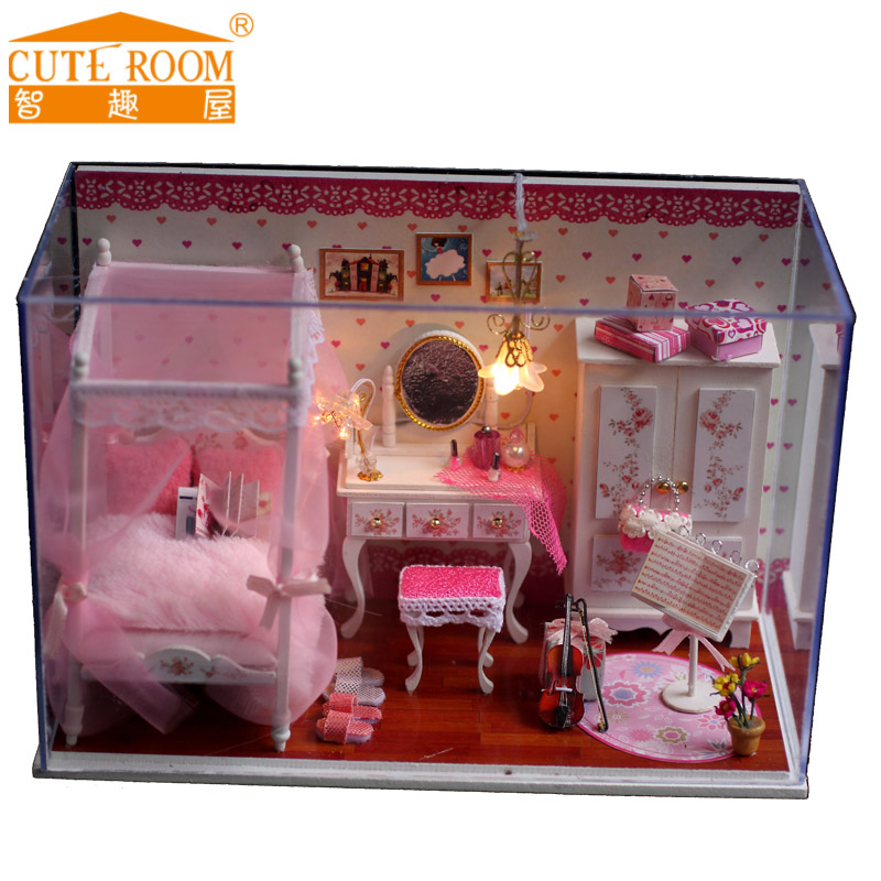 2016 Hot Sale Decoration Crafts Diy Doll House Wooden Houses Miniature Dollhouse Furniture Kit