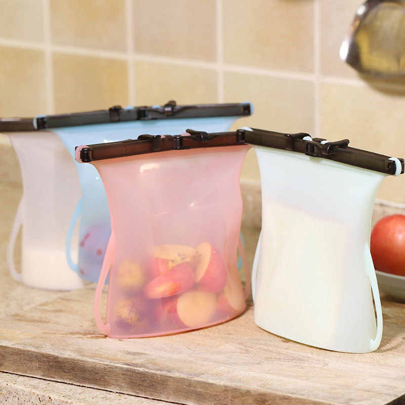Refrigerator Bag Kitchen Organizer Reusable Silicone Vacuum Seal Food Fresh Bag Fruit Meat Milk Storage Containers