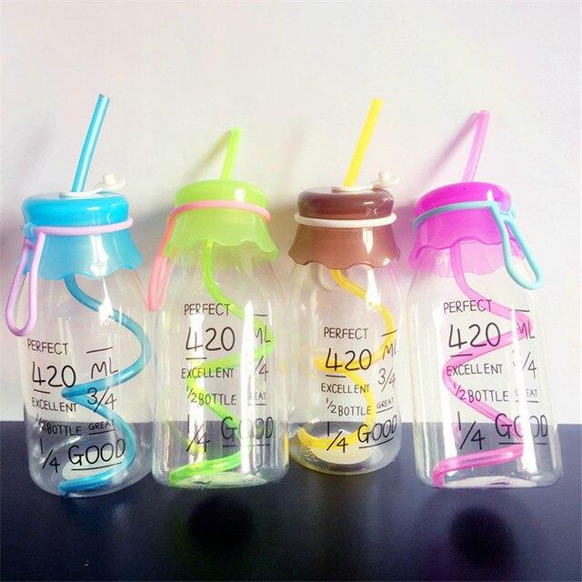 new arrival 420ml transparent fruit juice cool drink glass bottle jar lemon bottle with cover straw
