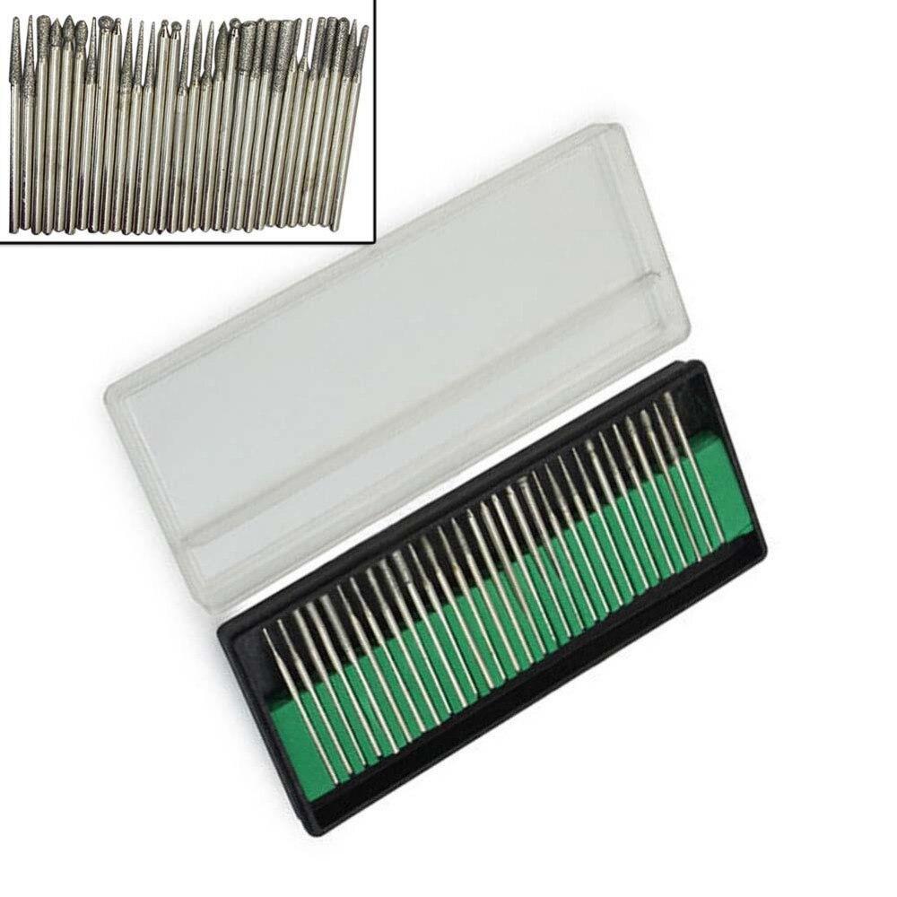 NEW 30pcs Diamond Burr Bits Drill Kit For Engraving Carving Fit Dremel Rotary dremel polishing kit diamond bit