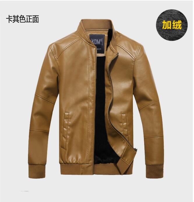 Spring New Men's Coat Locomotive Leather Jacket Thickening Fur Outerwear Slim Winter Leather garments Jacket Brown Black M-4XL.