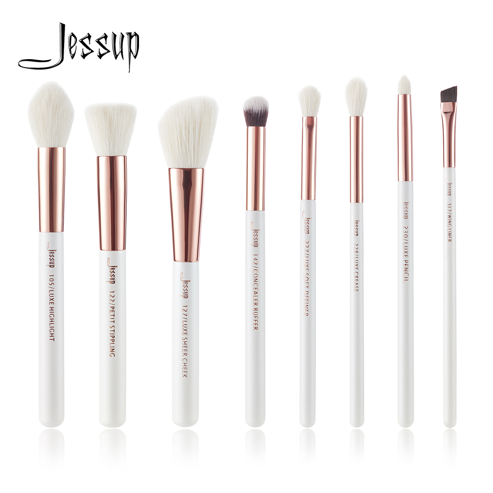 Jessup Pearl White/ Rose Gold Professional Makeup Brushes Brush Set Make up Tool kit Foundation Stippling natural-synthetic hair jessup rose gold black professional makeup brushes set make up brush tools kit foundation powder brushes natural synthetic hair