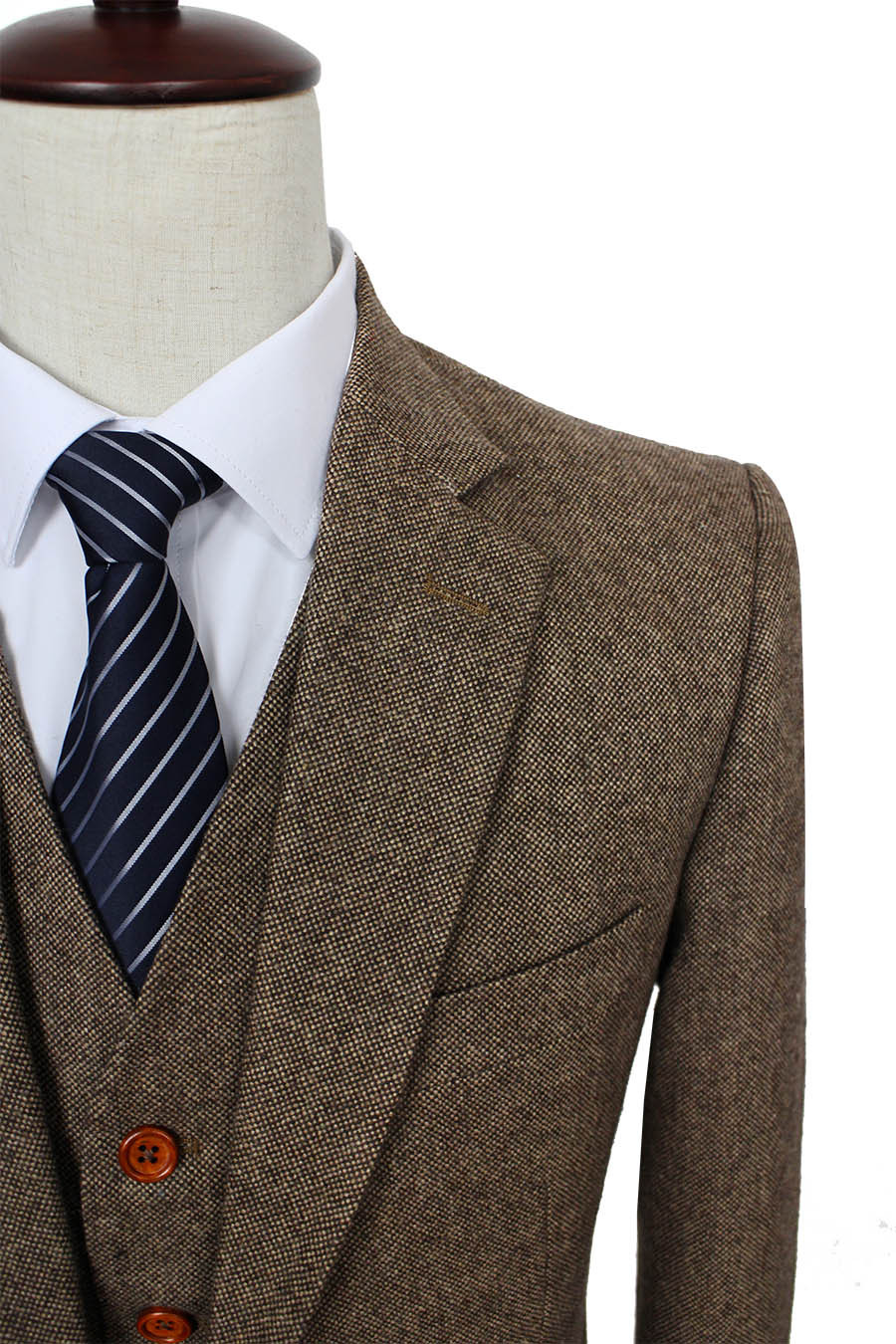 Aliexpress.com : Buy Brown Classic Tweed custom made men slim fit ...