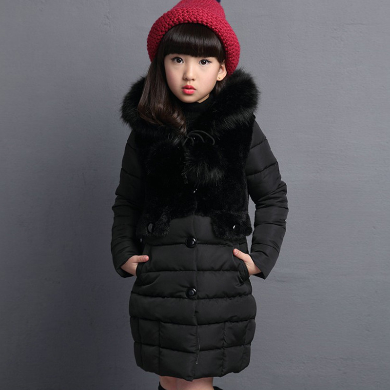 2018 New Fur Hooded Kids Winter Coat Girls Jacket Fashion Warm Coats Girls Winter Coat 4-12 Years Parka Children Outerwear 2018 girls winter coat warm jacket fashion hooeded jeans outerwear children clothing kids cotton parka coats