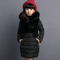 2019 New Fur Hooded Kids Winter Coat Girls Jacket Fashion Warm Coats Girls Winter Coat 4-12 Years Parka Children Outerwear