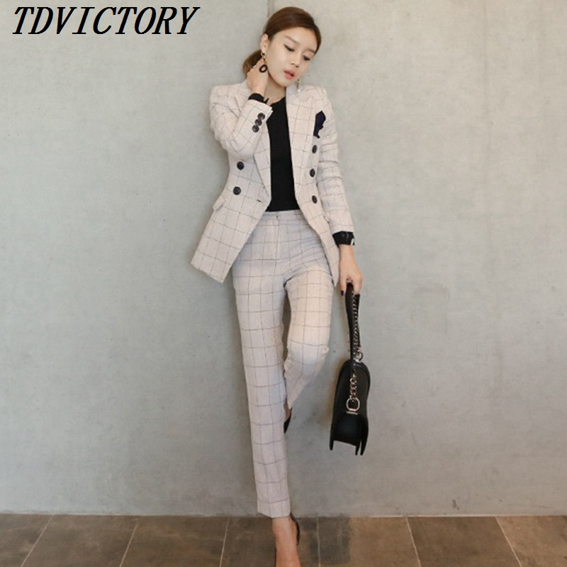 great look save up to 60% top design US $33.59 20% OFF|2018 Autumn Elegant Office Lady Pant Suit Set Women  Business Work Wear Two Piece Set Plaid Jacket Blazer & Slim Pant Set-in  Women's ...