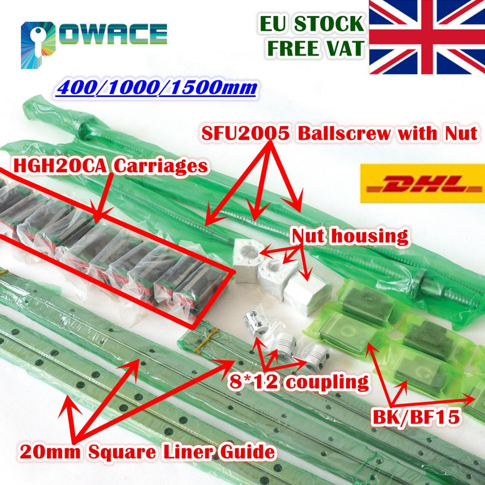 [EU STOCK] Square 20mm L-400/1000/1500mm Linear Rail Guide & 3x Ballscrew SFU2005 With Nut& 3 Set BK/B15 + 8*12-30*35 Coupling