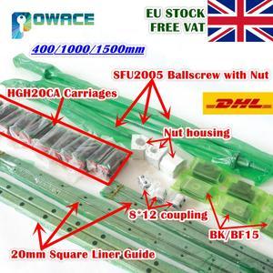 Image 1 - [EU STOCK] Square 20mm L 400/1000/1500mm Linear Rail Guide & 3x Ballscrew SFU2005 with Nut& 3 Set BK/B15 + 8*12 30*35 Coupling