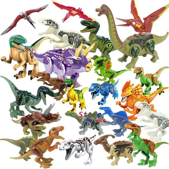 1 pcs Mundo Jurássico Tiranossauro Rex Rex Dinosaur Carnotaurus Cruzar Animais Blocos de Construção Figuras brinquedos para as crianças