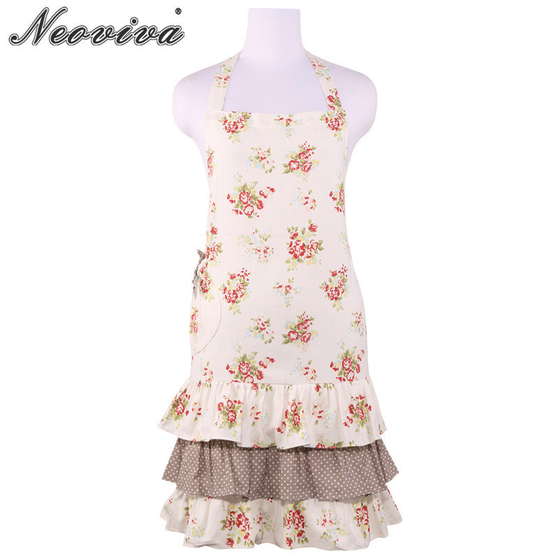 Neoviva Cotton Canvas Vintage Apron for Housewife Kitchen with Pocket Plus Size Available Doris Floral Nitong Rose Women's Apron