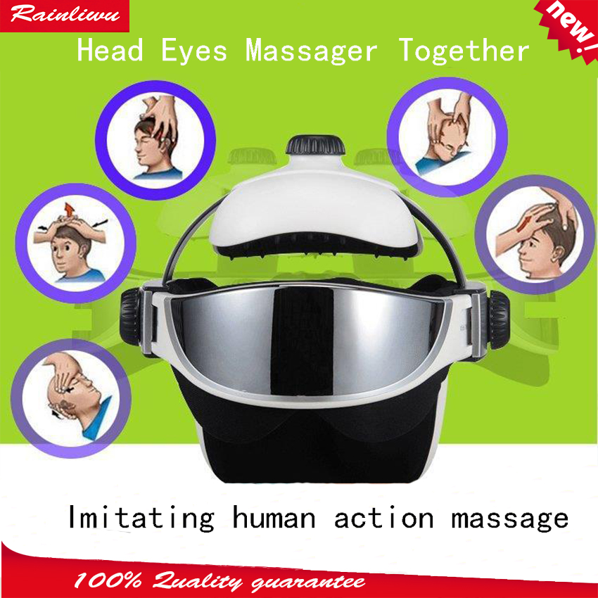 Wireless head massager eye massage device Electric Head Eyes together massage instrument Imitating human action massage helmet eye massager massage device eye mask essence absorber
