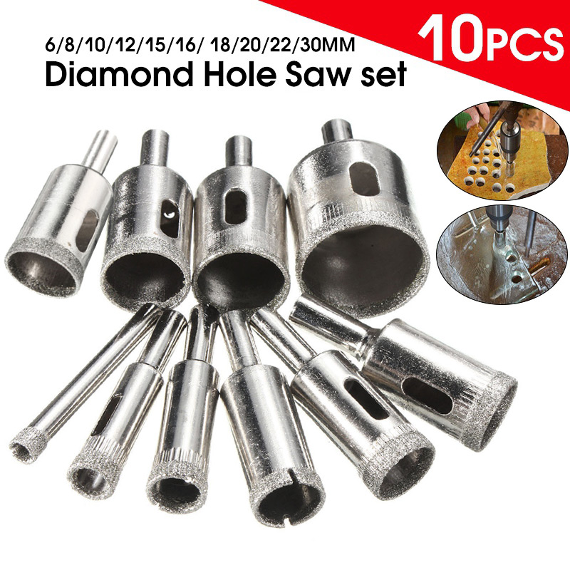 10Pcs Marble Drill Bit 6-30mm Diamond Coated Hole Saw Core Drill Bit For Tile Glass Slate Marble --M25