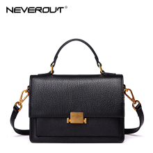NeverOut Women High Quality Genuine Leather Shoulder Bags Solid Retro Hardware Messenger Bag Sac Brand Design Crossbody Bag