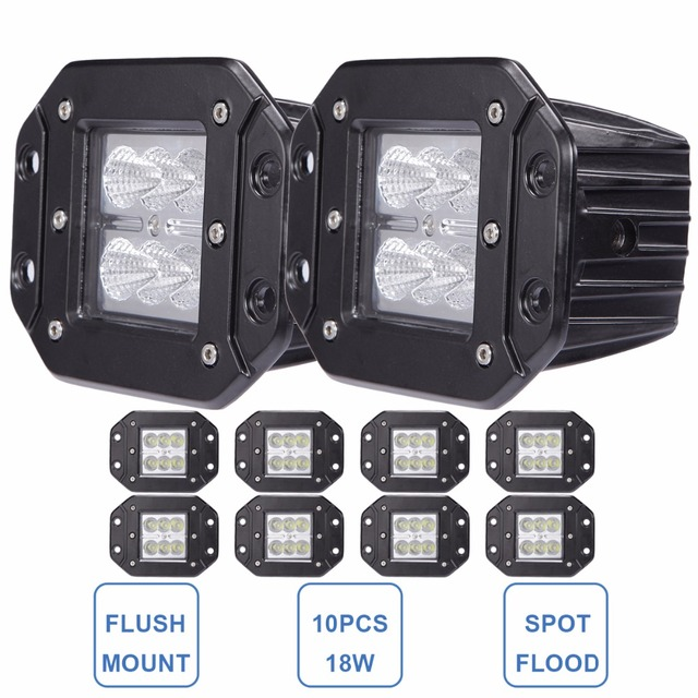 18W Offroad LED Work Light Flush Mount 12V 24V Car Truck Pickup