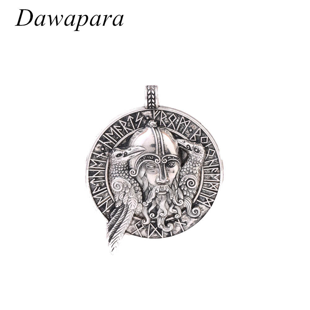 Dawapara Coin Necklaces with Odin's Figure and Two Raven Pattern Charms and Pendants Vintage Norse Viking Jewelry for Men
