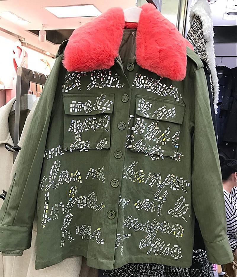 Amovible D'hiver Femmes Manches Longues De 2018 Fourrure Coton À Longue Le Col vert Doublure Deux Veste Lapin Nouvelle Chaud Noir Usure Plus Forage qCTFd