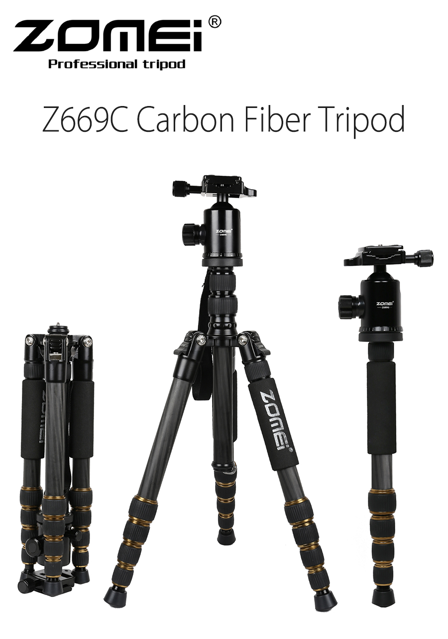 Zomei Z669C Professional Carbon Fiber Tripod Kit For Travel DSLR Camera Monopod Stand Ballhead Compact Portable
