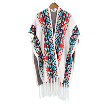 TOLINA wild National style Women Knitted Cashmere Poncho Capes Shawl Cardigans