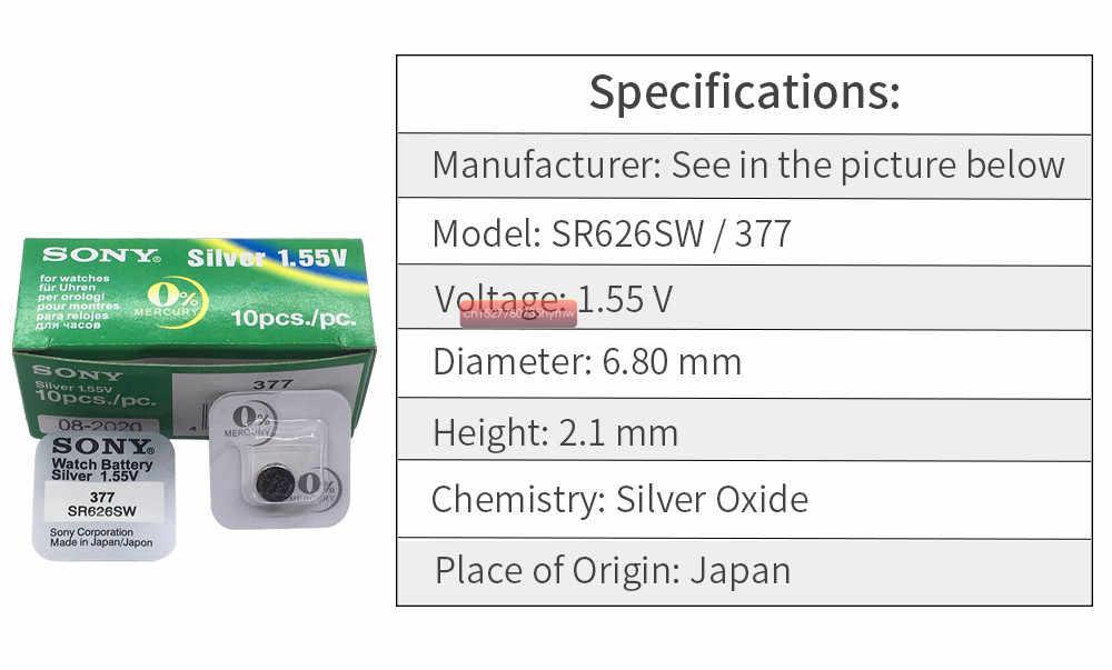 1 pcs ใหม่ SONY 100% Original 377 SR626SW 626 SR626 V377 AG4 นาฬิกาแบตเตอรี่ปุ่มเหรียญ MADE IN JAPAN