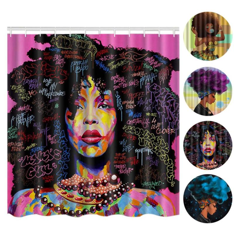 12Hooks Exotic Girl Pattern Waterproof Shower Curtain African Woman Home Bathroom Curtains Polyester Fabric Bath Curtain S4